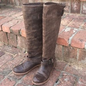 Steve Madden Lynxx Brown/Red Leather Boots